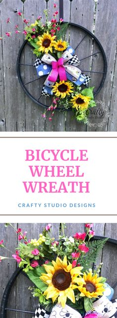 Most current Totally Free Spring Wreath sunflowers Ideas Find a basic precisely how to help for wreath producing and make up a beautiful crazy spring wreath Bicycle Decor, Bicycle Rims, Bicycle Wheel, Wreaths For Front Door, Mesh Wreaths, Front Doors, Wreath Ideas, Diy Wreath, Scarecrow Wreath