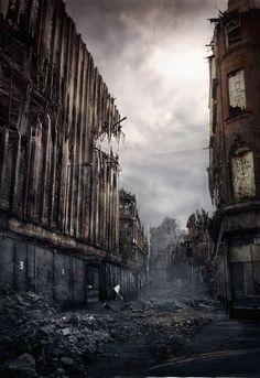 How the apocalypse would look in Manchester & London Apocalypse Aesthetic, Apocalypse Art, Apocalypse Survival, Apocalypse Landscape, Dibujos Dark, Post Apocalyptic City, Arte Zombie, Arte Obscura, Fantasy Landscape