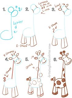 Big Guide to Drawing Cartoon Giraffes with Basic Shapes for Kids - How to Draw S. - Big Guide to Drawing Cartoon Giraffes with Basic Shapes for Kids – How to Draw Step by Step Drawin - Drawing Lessons, Drawing Videos For Kids, Drawing Tips, Art Lessons, Drawing Tutorials, Drawing Ideas, Sketches Tutorial, Basic Drawing For Kids, Easy Drawings For Kids