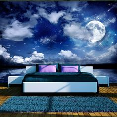 Magic Night x Wallpaper East Urban Home Bedroom Murals, Bedroom Ceiling, Bedroom Decor, 3d Wallpaper Mural, Photo Wallpaper, Ceiling Murals, Wall Murals, Mural Art, Galaxy Room