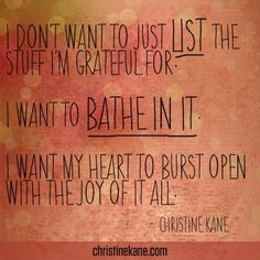 """""""Bathe in Gratitude - Christine Kanes Blog"""" A beautiful sentiment!!! ♥ Happy Thanks*Giving 2013! Great Quotes, Quotes To Live By, Me Quotes, Attitude Of Gratitude, Gratitude Quotes, Express Gratitude, Cool Words, Wise Words, The Knowing"""
