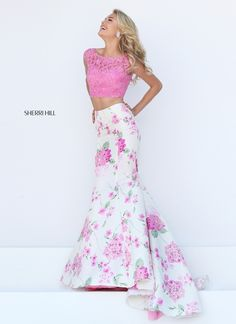 Sherri HIll 2 piece pink and white mermaid prom dress with lace top with keyhole back and flowered skirt - Prom Dresses at Hope's Bridal