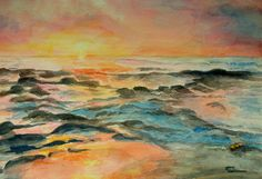 The sunset glow is really evident in this watercolor painting.