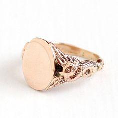 Sale Antique Art Nouveau 10k Rose Gold Dragon Signet Ring