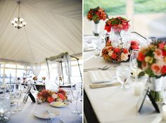 coral and white centerpieces // photo by Alante Photography, floral design by Sublime Stems