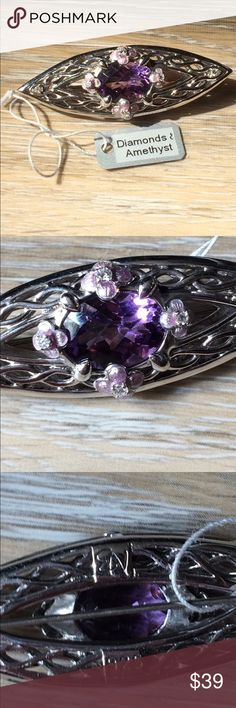 Amethyst/Diamond Brooch Lovely amethyst surrounded by four petite flowers which are accented by tiny diamonds. NWT Never worn. Jewelry Brooches