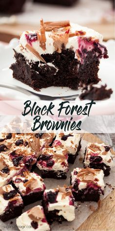 Black Forest Brownies - fudgy chocolate brownies with a layer of real cherries, whipped cream & easy homemade cherry jam. #brownies #chocolatebrownies via Sugar Salt Magic