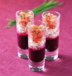 Photo de la recette : Verrines surimi, tomate et betterave