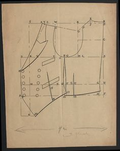 Completely unmarked pattern. Guestimate 1910s gentleman's vest. Even larger (read: massive) image of the pattern can be found here:htt...