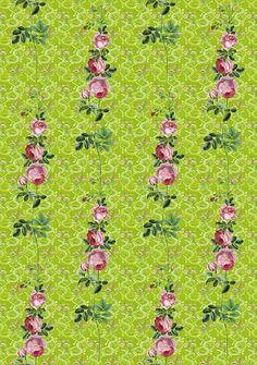 Designtapete mit nostalgischem Rosenmuster. Die im klassischen Stil gehaltenen Rosen schweben auf einem grünen Hintergund.