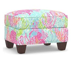 Vibrant colors and prints infuse a tropical vibe in a room. Our Irving Upholstered Storage Ottoman is available in a choice of colorful fabrics imagined exclusively for Pottery Barn by Lilly Pulitzer, the iconic brand that started with a juice sta… Upholstered Arm Chair, Armchair, Oversized Furniture, Home Furniture, Outdoor Furniture, Stylish Beds, Room Planner, Interior Design Services