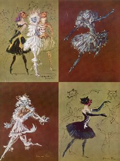 Les Demoiselles de la Nuit,  Costume Designs for Roland Petit, Margot Fonteyn - 1948 | Leonor Fini Cats