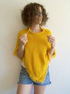 Vintage Boho Hippie Indie Mustard Yellow Knit by FunkyOldSoul