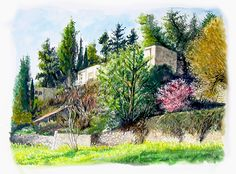 Jerusalem - Ein Kerem area  Watercolor by Menahem Lavee