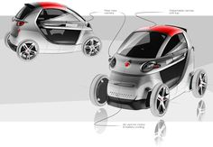 Personal project of small city transport. The project has no connection with Fiat brand. Morgan Cars, 4 Wheelers, E Scooter, Smart Car, City Car, Car Sketch, Car Drawings, Transportation Design, Mobile Design