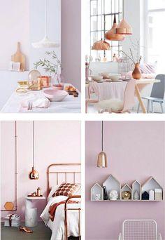 couleur pantone 2016 rose quartz et suspensions et objets en cuivre