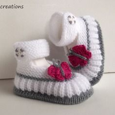 Discover thousands of images about Cute butterfly shoes Crochet Baby Socks, Knit Baby Shoes, Booties Crochet, Crochet Shoes, Crochet Baby Booties, Baby Boots, Crochet Slippers, Knitting For Kids, Baby Knitting Patterns