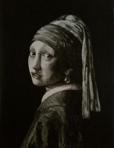 Girl With A Pearl Earring,  Charcoal pencil on paper
