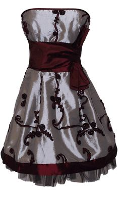 Applique Ribbon Strapless Mini Dress Prom Party Formal Gown