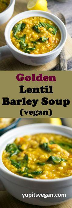 Warming Golden Lentil Barley Soup