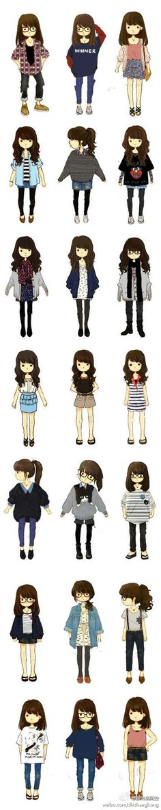 Cute drawings and outfits. Apparently it's hipster. Hipster Outfits, Manga Outfits, Hipster Fashion, Mode Outfits, Cute Fashion, Asian Fashion, Look Fashion, Fashion Design, Fashion Outfits