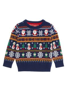 Boys Navy Christmas Jumper years) from Tu at Sainsbury's ! Festive Jumpers, Christmas Jumpers, Ugly Christmas Sweater, Kids Fashion Boy, Christmas Knitting, Fall Sweaters, Ugly Sweater, Knitwear, Crochet
