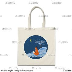 Winter Night Fox Tote Bag #fox #foxes #animals #snow #moon