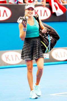 Eugenie Bouchard in her third round match at the Australian Open tennis championship in Melbourne, Australia, Friday, Jan. 17, 2014. #WTA #Bouchard #AUSOpen