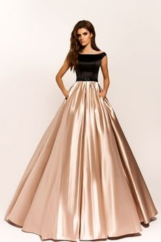 Black and Champagne Satin Evening Dress with Beaded Sash Boat Neckline Long Prom Dresses with Pocket Women Formal Party Gowns Long Gown Dress, Lehnga Dress, The Dress, Lehenga, Stylish Dress Designs, Stylish Dresses, Fashion Dresses, Formal Dresses, Designer Party Wear Dresses