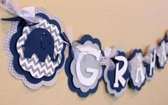 Elephant Chevron Stripe and Polka Dot ITS A BOY or NAME Banner Navy Blue, and Gray Baby Shower Birth Grey Baby Shower, Baby Shower Chevron, White Baby Showers, Elephant Birthday, Elephant Theme, Elephant Baby Showers, Baby Elephant, Baby Shower Decorations, Baby Shower Themes