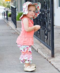 10ba3acc327e Ruffle Butts® Painted Flowers Scallop Sun Hat. Baby Girl ...