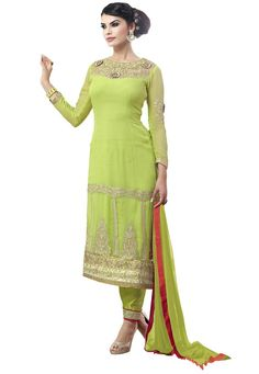 #Parrot #Green #Faux #Georgette #Chuddidar #Kameez with #Dupatta.  #Parrot #Green #Faux #Georgette #kameez #designed with #Zari,Resham #Embroidery With #Stone Work And #Lace Border Work.  INR:1,490.00  With Exclusive Discounts  Grab: http://tinyurl.com/j9s25ht