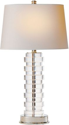 Visual Comfort & Co. Oval Stacked Bedside Lamp, Crystal