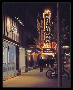 Michigan Theatre marque at night / downtown Ann Arbor  / MI. USA Love, Love Ann Arbor