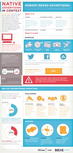 Fresh on IGM > What is Native Advertising: Unfamiliar with this term? Native advertising is a relatively new kid on the marketing block that focuses on user experience and redefines traditional monetization. Go read and youll find examples youve likely come across.  > http://infographicsmania.com/what-is-native-advertising/