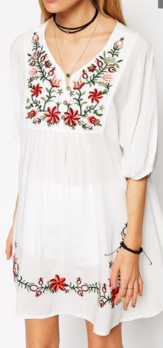 embroidered details on boho white