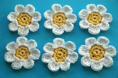 Organic Cotton Yellow and White Crochet Flowers