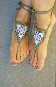 Sandalen - ••• Barfußsandalen / Fußschmuck ••• - ein Designerstück von crochet…