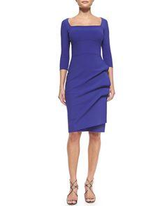T8UX0 La Petite Robe di Chiara Boni Amy 3/4-Sleeve Sheath Dress, Purple $600