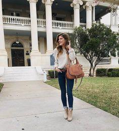 Natural sweater+skinny jeasn+beige ankle boots+cognac shoulder bag+cognac belt. Spring Casual Outfit 2017