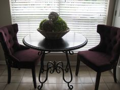 Pier 1 Ashmont Bistro Dining Table with Purple Damask Dining Chairs