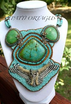 beaded turquoise owl totem necklace