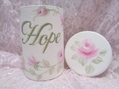 ROMANTIC HOPE JAR CANISTER hp roses chic shabby vintage cottage hand painted   #Unbranded #SHABBYROMANCE