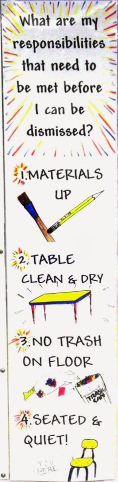 """Post on art bins at tables, switch one to """"Do my table job"""" art room classroom clean up management signage"""