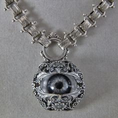 Evil Eye Warding Protection Necklace In Silver Tones by oscarcrow, $49.00