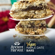 These Vegan Maple-Date Bars are gluten free and fun to eat. Pin for a chance to win BIG in the Ancient Harvest #QuinoaCookieSwap. Learn more on facebook.com/AncientHarvest
