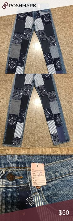 NWT Rich Hippie Bandana Jeans Sz 8 Designer Rare Rich Hippie Designer Jeans New With Tags Straight leg  Size 8 Inseam 29 Rich Hippie Jeans Straight Leg