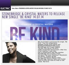 Huge shout out to my favourite London station This Is Electric - check this feature on their website! #thisiselectric http://www.thisiselectric.co.uk/stonebridge-crystal-waters-to-release-new-single-be-kind-14-07-14/