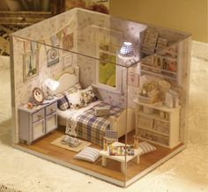 DIY Dollhouse Miniature Girl's Bedroom LED by MforMiniatures