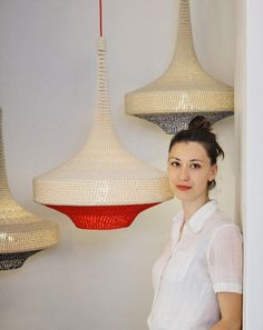 Crochet pendant lamps by Naomi Paul are the first products on show in The Changing Room at Dezeen Super Store. Chandelier Lamp, Pendant Lamp, Lamp Design, Diy Design, Home Lighting, Lighting Design, Lampe Crochet, Everything Is Illuminated, Acoustic Design